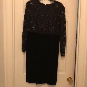 Talbots Black lace sequined party dress